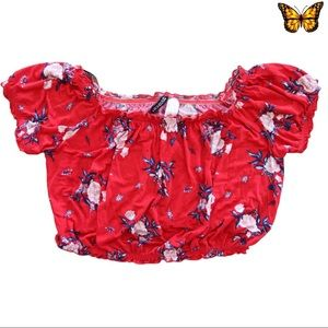 EUC Red Floral Crop Top Divided